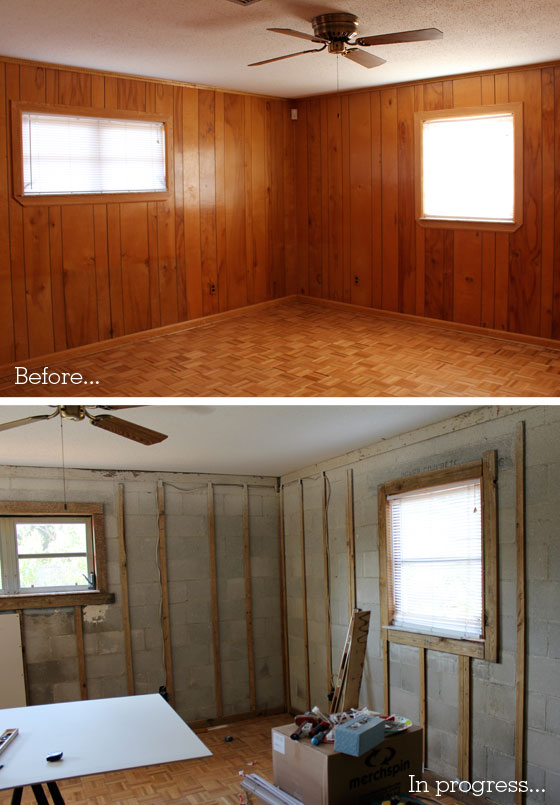 Wood Paneled Den: Our Den / Living Room Remodel
