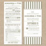 Typographic gray and white wedding invitation