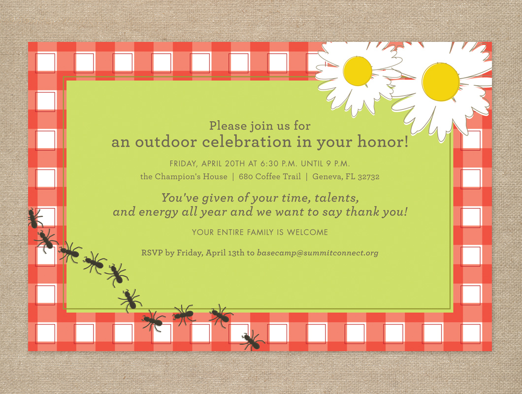 Daises and ants picnic dinner invitation