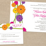Modern bright daisy wedding invitation and reply card