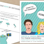 Modern cartoon portrait wedding stationery