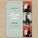 Vintage modern photo wedding save the date card