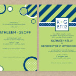 Navy and lime modern rehearsal dinner and wedding invitations