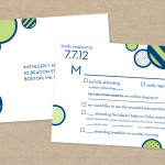 Navy and lime modern wedding RSVP postcard