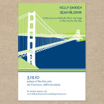 Navy and lime San Francisco wedding invitation