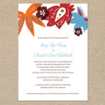 Orange and teal floral wedding invitation