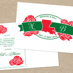 State monogram holiday postcard