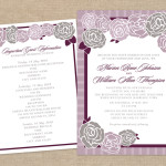 Purple and gray rose wedding invitation and information card