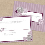 Purple and gray rose wedding RSVP postcard