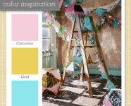 Pink, Gold and Blue Color Palette