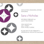 Retro modern purple and gray rehearsal dinner invitation