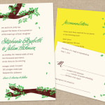 Branches and leaves rustic wedding invitation and reply card
