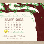 Vintage tree calendar wedding save the date card