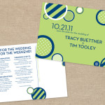 Navy blue and lime green modern wedding save the date postcard