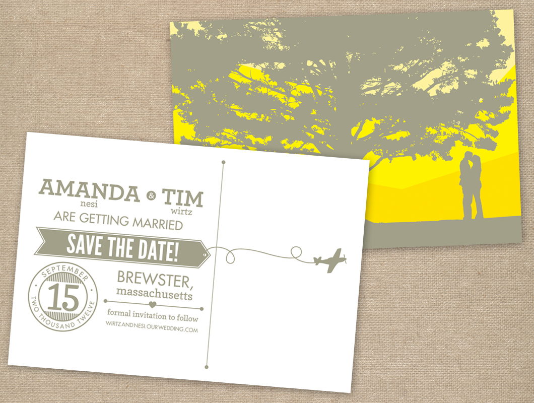 Vintage inspired type yellow gray save the date wedding invitation