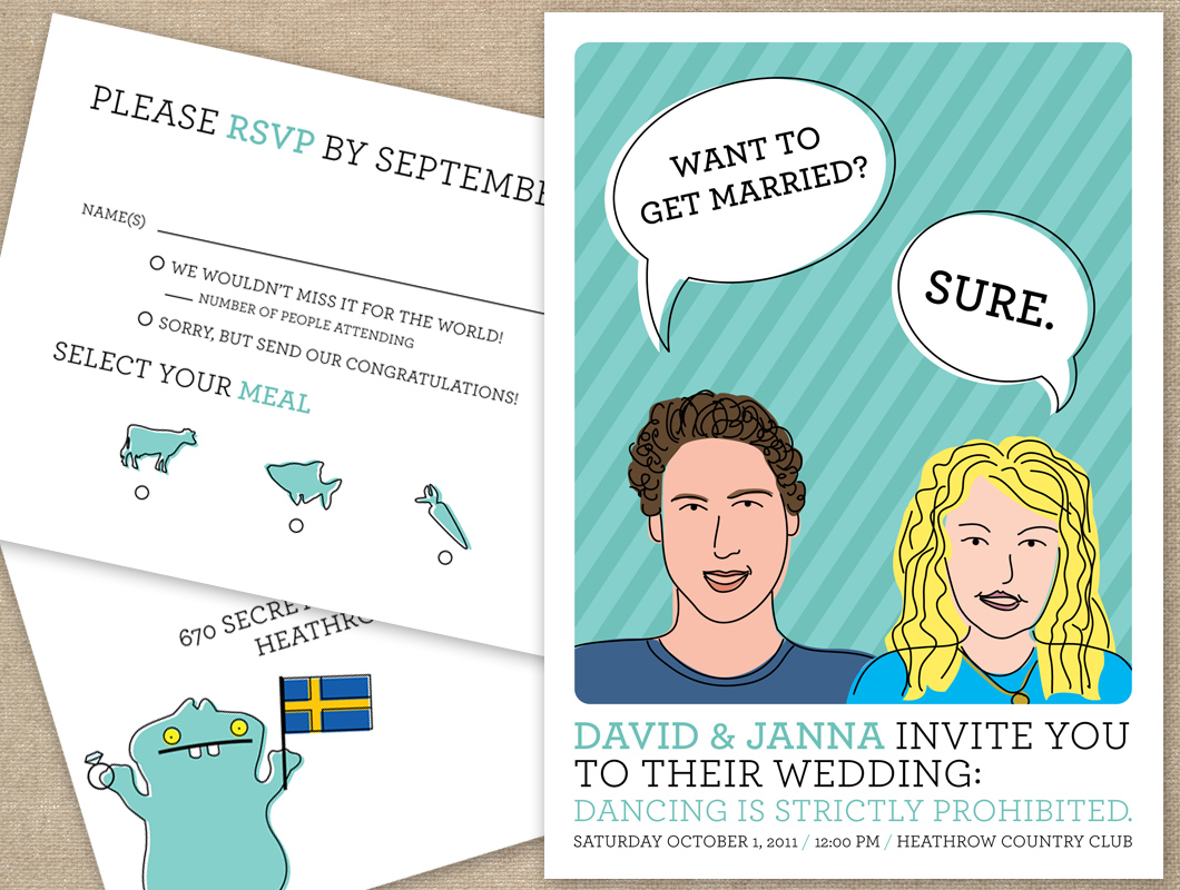 Unique custom illustration portrait wedding invitation