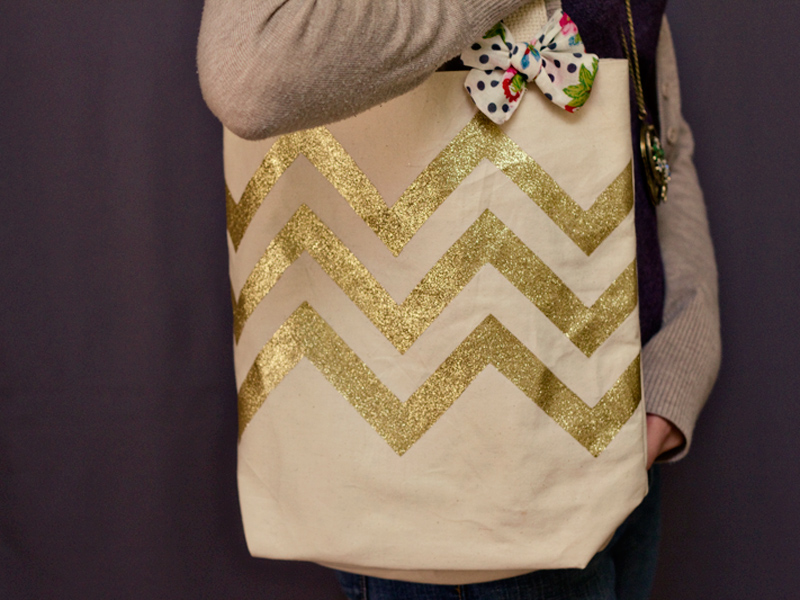 gold glitter chevron natural tote bag