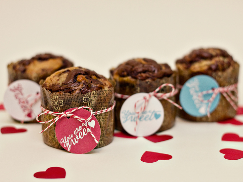 Valentine's Day Breakfast Nutella Banana Muffins