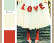 Red, Mint Green & Cream Color Palette