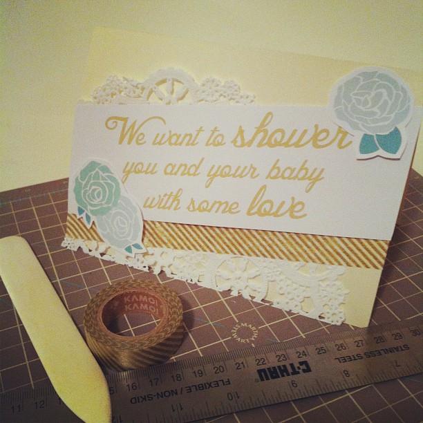 handmade washi tape baby shower card