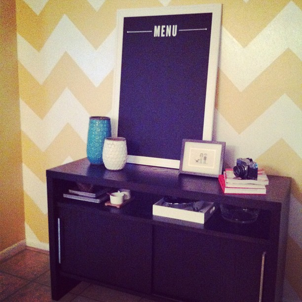diy chevron painted wall chalkboard menu