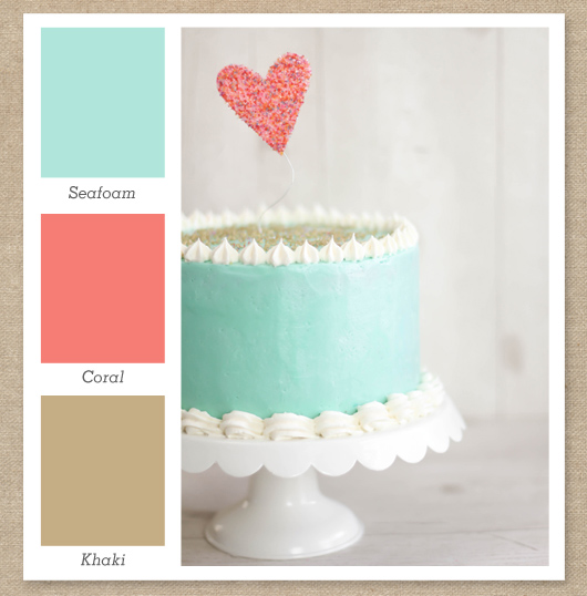 seafoam mint green coral prink tan color palette