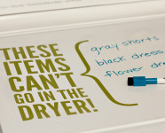 Dry Erase Marker List on Washing Machine