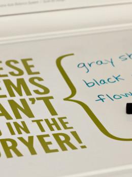 dry erase marker on washing machine
