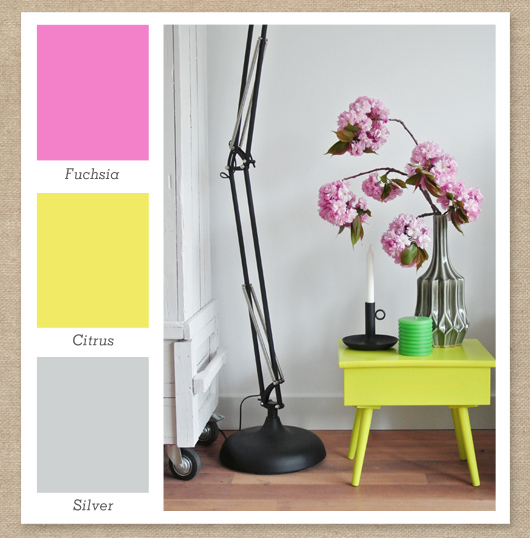 fuchsia pink yellow and silver color palette