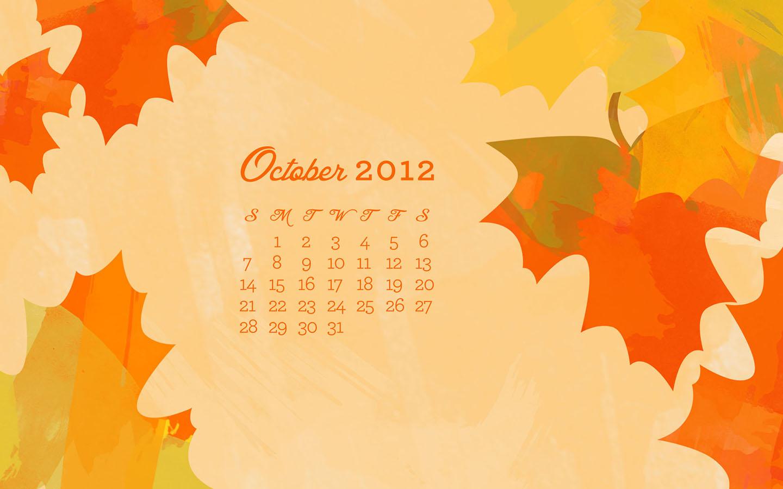 October 2012 Desktop, iPhone & iPad Calendar Wallpaper - Sarah Hearts