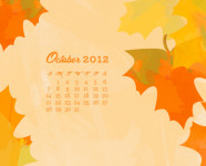 October 2012 Desktop, iPhone & iPad Calendar Wallpaper