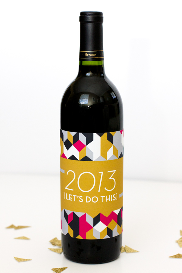 New Year's Champagne and Wine Labels from Sarah Hearts