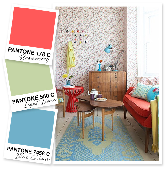 Coral, lime and blue color palette inspiration by Sarah Hearts
