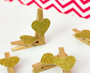 DIY Glitter Heart Clothes Pins