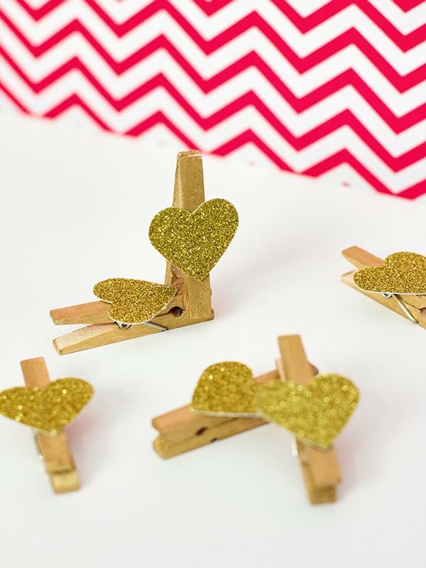 DIY Glitter Heart Clothes Pins by Sarah Hearts