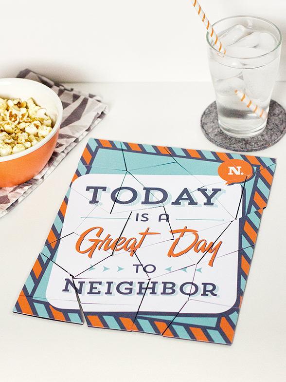 Printable DIY Puzzle Template from Sarah Hearts #letsneighbor
