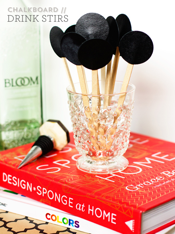 DIY Chalkboard Drink Stirs by Sarah Hearts for Poppy Mag