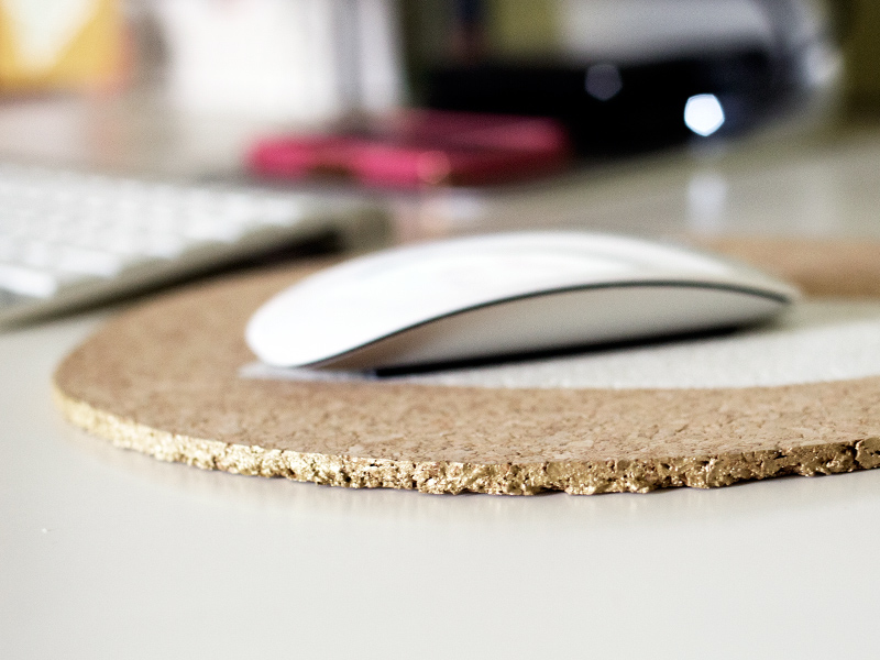 DIY Painted Cork Mouse Pad from Sarah Hearts