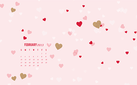 February 2013 Heart Calendar Wallpaper by Sarah Hearts