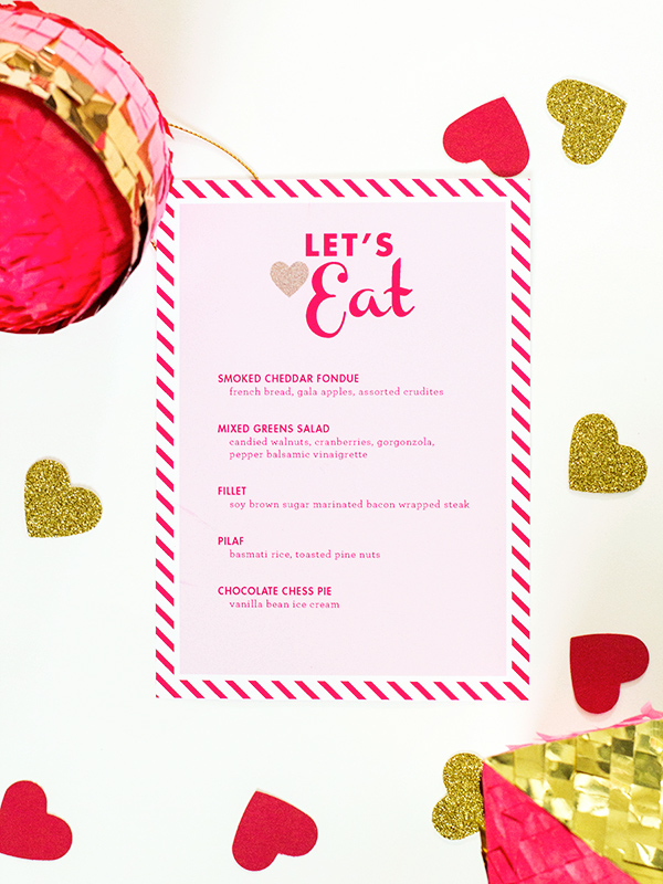 valentine's day menu template - sarah hearts, Ideas