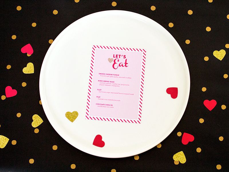 Valentine's Day Menu Template from Sarah Hearts