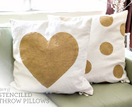 DIY Freezer Paper Stenciled Throw Pillows