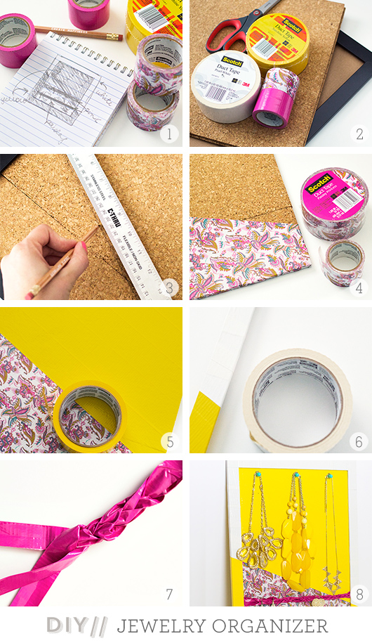 Scotch Color & Pattern Duct Tape DIY Jewelry Organizer | Sarah Hearts