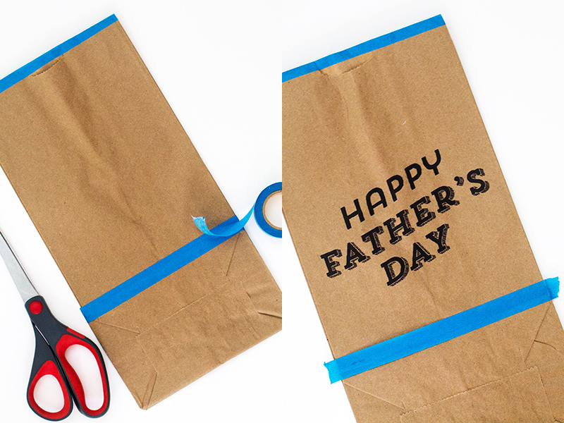 Wrap up dad's Father's Day gifts in these cute paper bags. Learn how easy it is to print directly on brown paper bags.