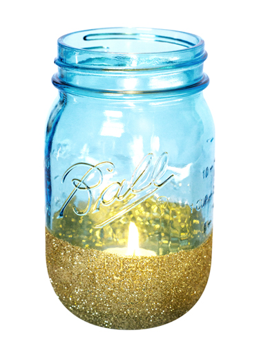 Blue Anniversary Ball Mason Jar Glitter Votives | Sarah Hearts for Redbook Magazine