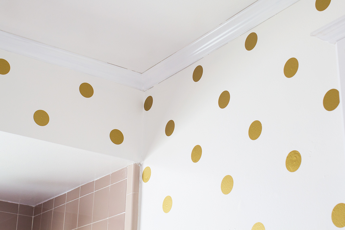 gold polka dot bathroom walls sarah hearts