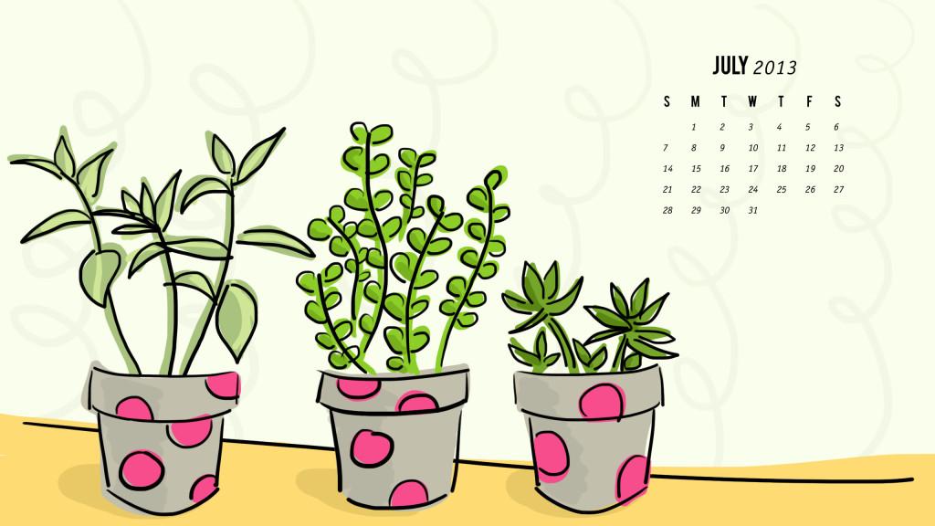 July 2013 Succulent Calendar Wallpaper by Sarah Hearts