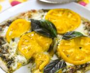 Pesto and Yellow Tomato Pizza