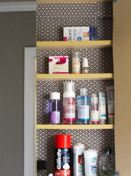 Contact Paper Lined Bathroom Cabinet | Sarah Hearts