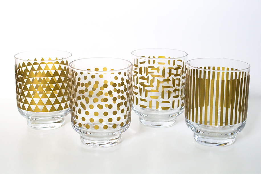 DIY Metallic Print Glassware | Sarah Hearts